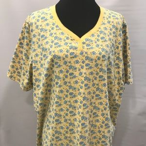 Bobbie Brooks Plus Size Yellow Floral Pajama Top